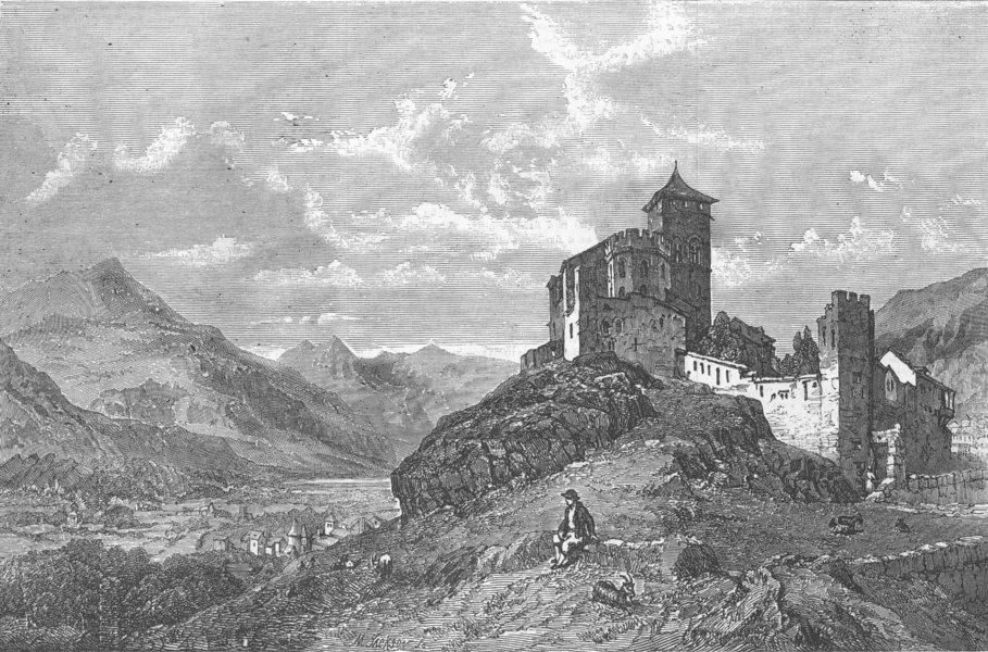 Associate Product SWITZERLAND. Fort & Church, St Valerie, Sion, Valais, antique print, 1856
