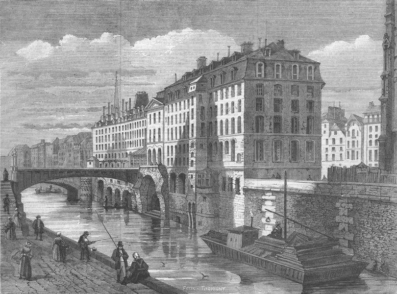 Associate Product FRANCE. Paris Demolitions-The Hotel Dieu, antique print, 1859