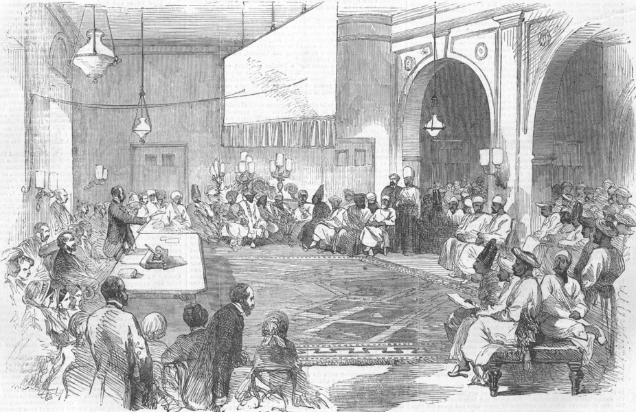 Associate Product INDIA. mtg at Surat, aid of Patriotic Fund, antique print, 1855
