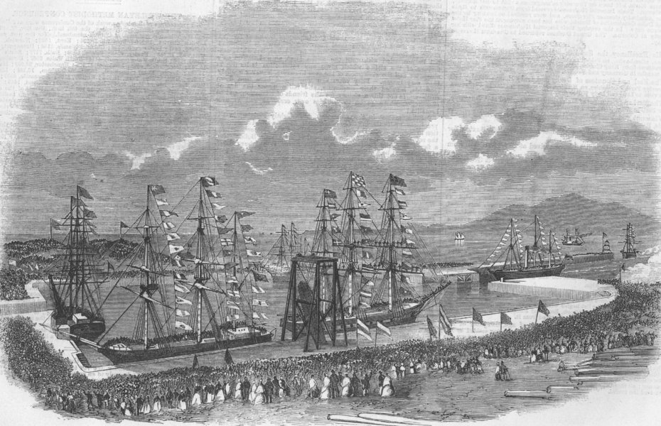 Associate Product CUMBS. Opening of Marshall Dock at Port of Silloth, antique print, 1859
