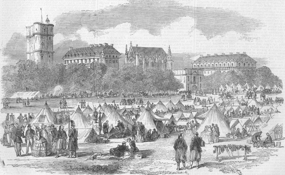 Associate Product FRANCE. The Paris Fetes-The Camp at St Maur, antique print, 1859