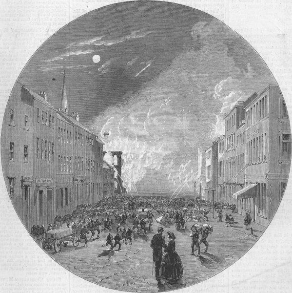 Associate Product CANADA. Fire in Granville-street, Halifax, antique print, 1859