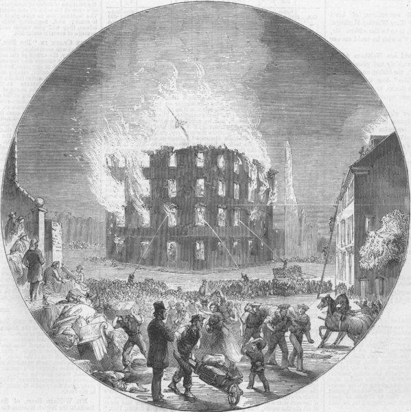 Associate Product CANADA. Fire in Ordnance-Square, Halifax, antique print, 1859