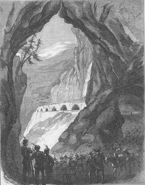 Associate Product ITALY. Pass of Stelvio & Gallery of Spondalonga, antique print, 1859