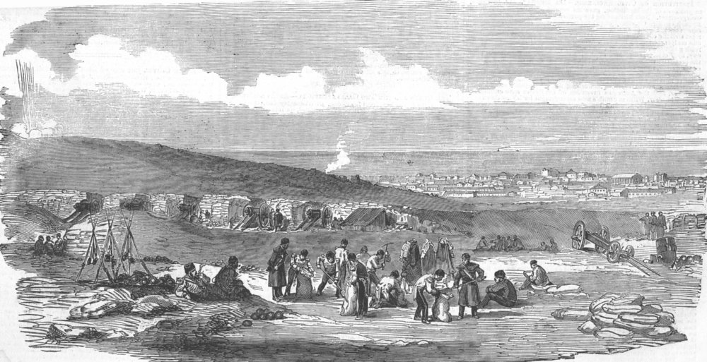 Associate Product UKRAINE. Sevastopol, from the Green Hill Battery, antique print, 1855
