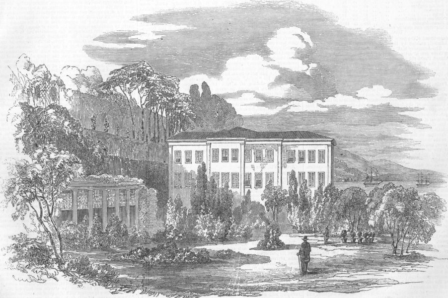 Associate Product TURKEY. Summer Palace of British Embassy, Therapia, antique print, 1853