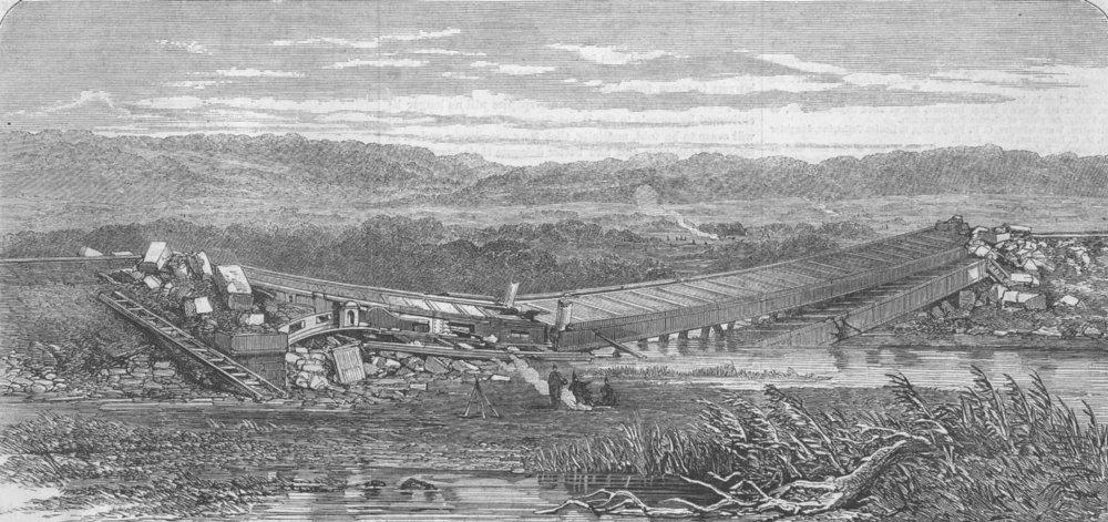 Associate Product DENMARK. Langaa Railway Bridge ruins, in Jutland, antique print, 1864