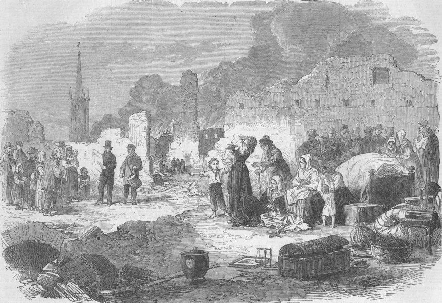 Associate Product FRANCE. Limoges. Crier distributing relief, antique print, 1864
