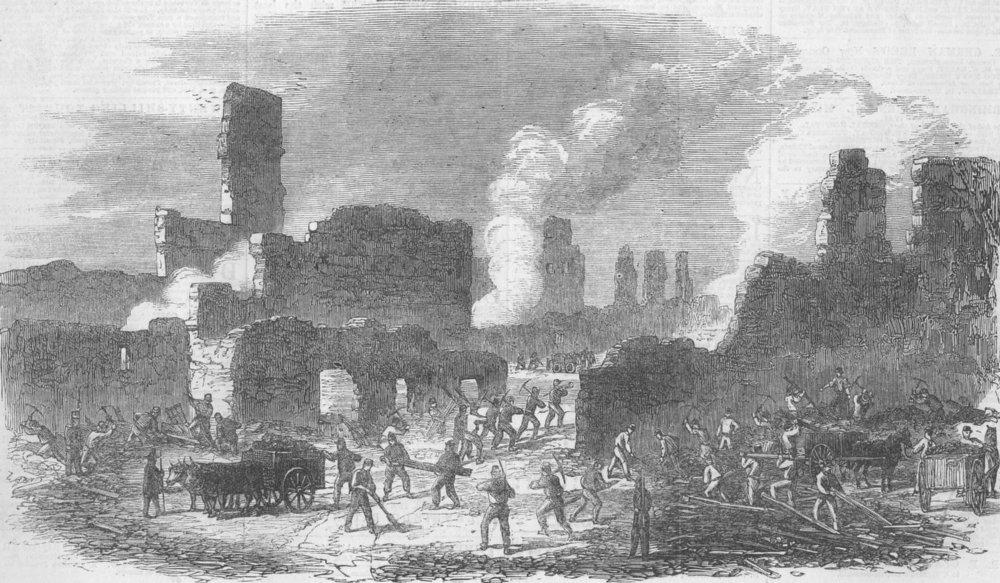 Associate Product FRANCE. Limoges. Firemen clearing rubble, antique print, 1864