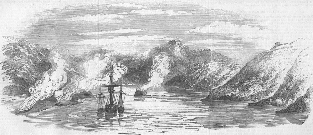 Associate Product RUSSIA. HMS Miranda, & Prizes, Litscha Bay, Lapland, antique print, 1854