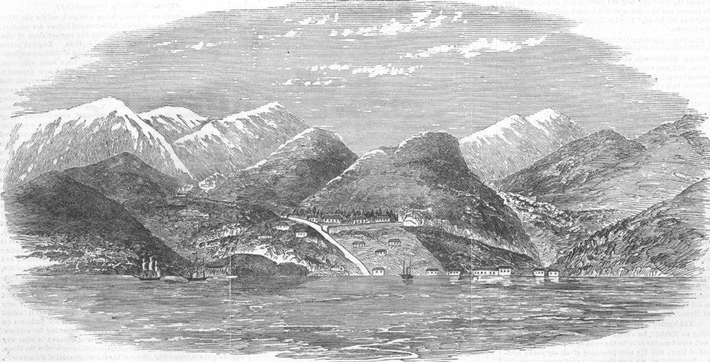 Associate Product MILITARIA. Ft Jouabs, Black Sea-Blockhouses, fire, antique print, 1854