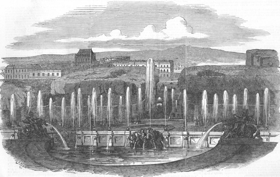 Associate Product FRANCE. Cambons Moving view-Fountains at Versailles, antique print, 1851