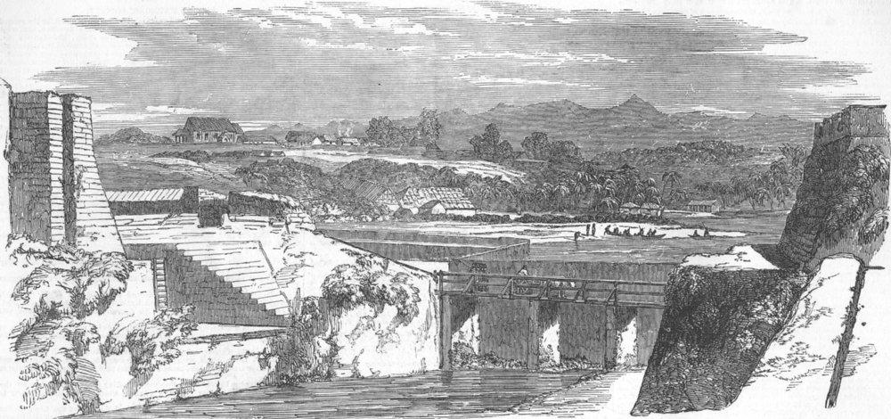 Associate Product INDIA. Kannur, Ft, Church, & Kodagu Hills, antique print, 1851