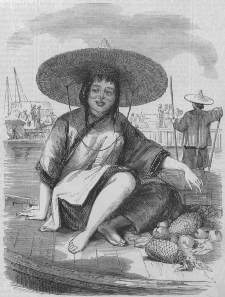 Associate Product CHINA. Chinese fruit-girl, antique print, 1858