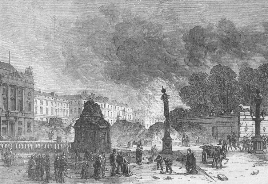 Associate Product FRANCE. The Place de la Concorde, antique print, 1871