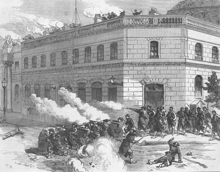 Associate Product FRANCE. Paris Commune. Communists Defending Elysee, antique print, 1871