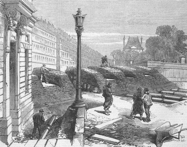 Associate Product PARIS COMMUNE. Rue De Rivoli barricade, antique print, 1871