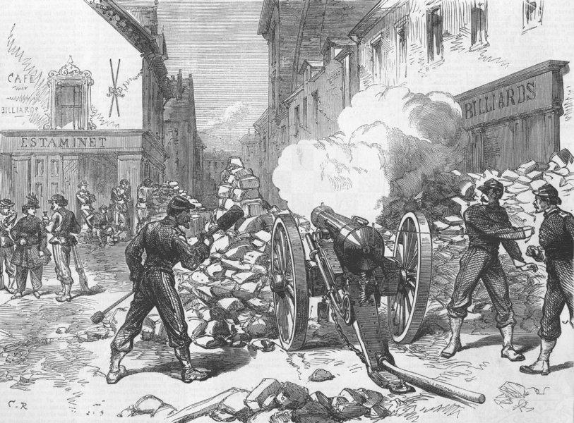 Associate Product FRANCE. Paris Commune. Advanced Post, Village of Issy, antique print, 1871