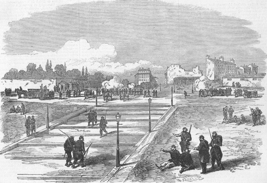 Associate Product FRANCE. Paris Commune. Communists Battery, Trocadero, antique print, 1871