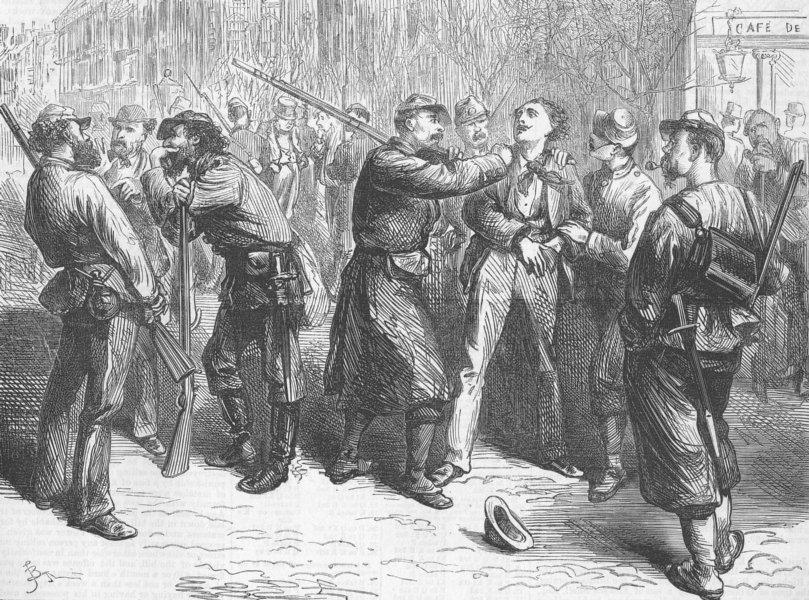 Associate Product FRANCE. Paris Commune. press gang for Commune Army, antique print, 1871