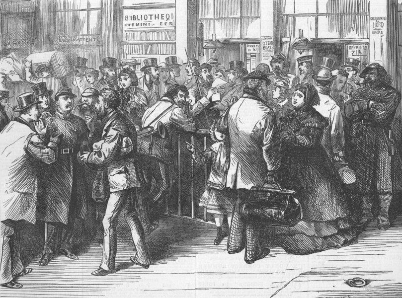 Associate Product FRANCE. Paris Commune. refugees at Northern Station, antique print, 1871