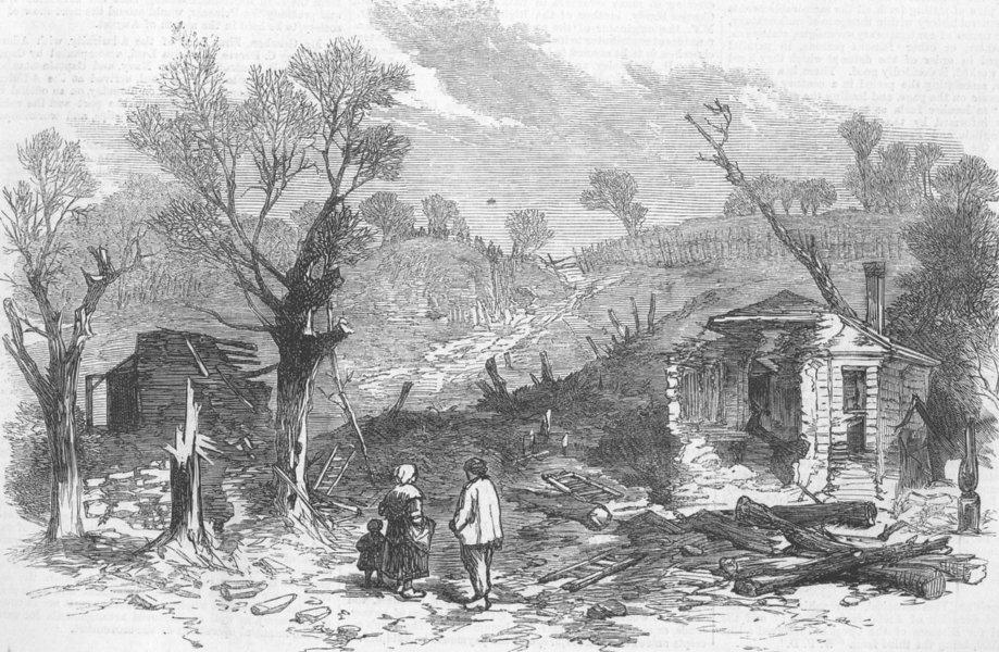 FRANCE. Prussian Battery, Park of St Cloud, antique print, 1871