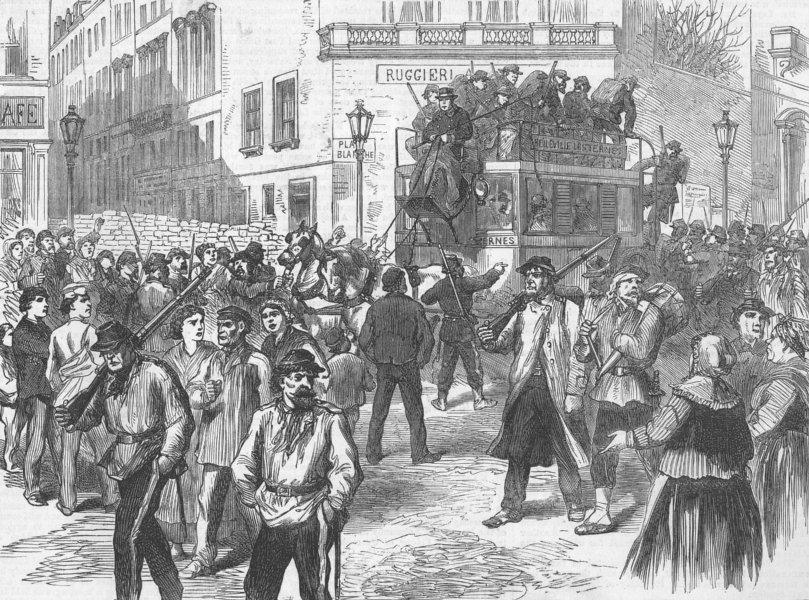 Associate Product FRANCE. Paris Commune. Communists, Place Blanche, antique print, 1871