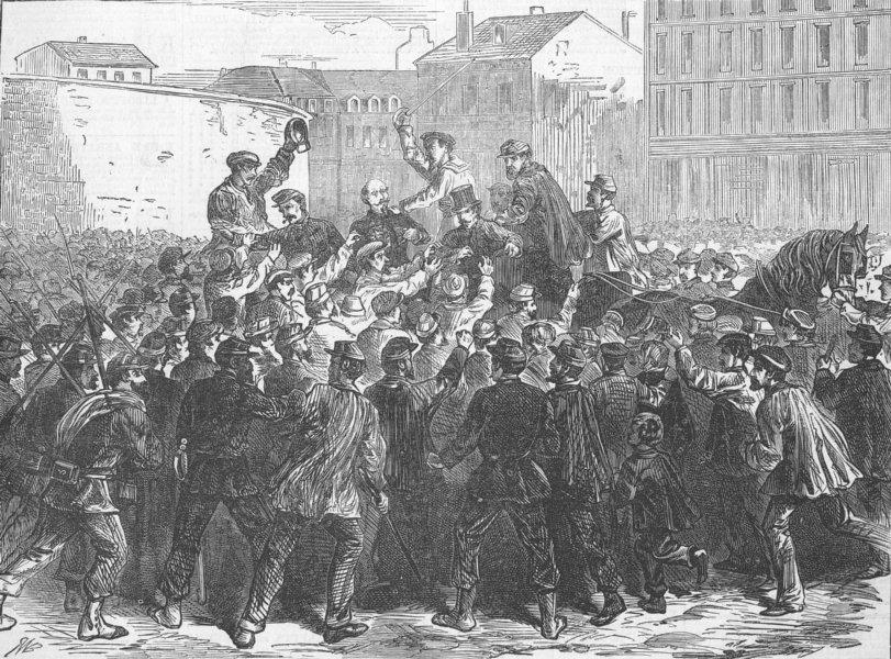 Associate Product FRANCE. Paris Commune. Assault on General Chanzy, antique print, 1871