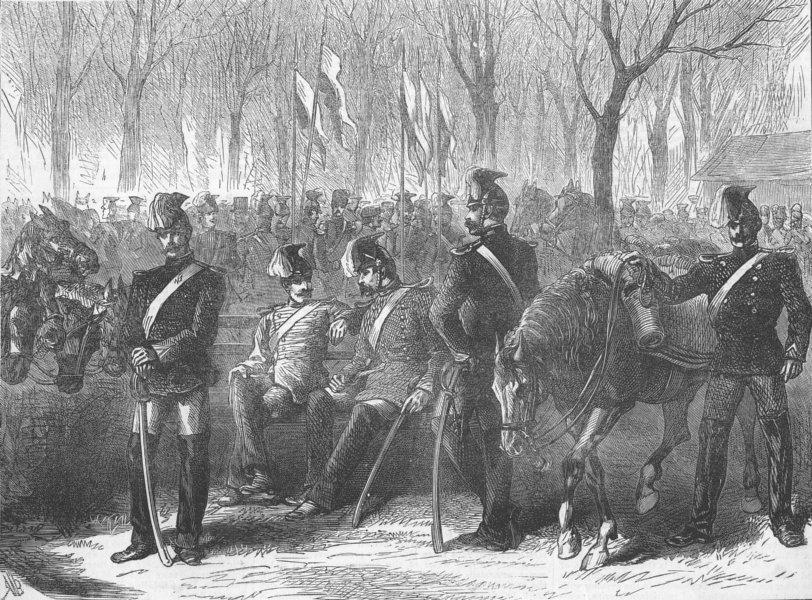 Associate Product FRANCE. Bavarian Lancers camped, Champs Elysees, antique print, 1871