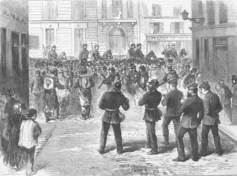 Associate Product FRANCE. Prussian demarcation line, Rue Du Colisee, antique print, 1871