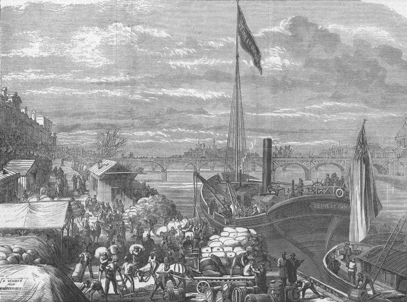 Associate Product FRANCE. Ship w/ relief supplies from London, Paris, antique print, 1871