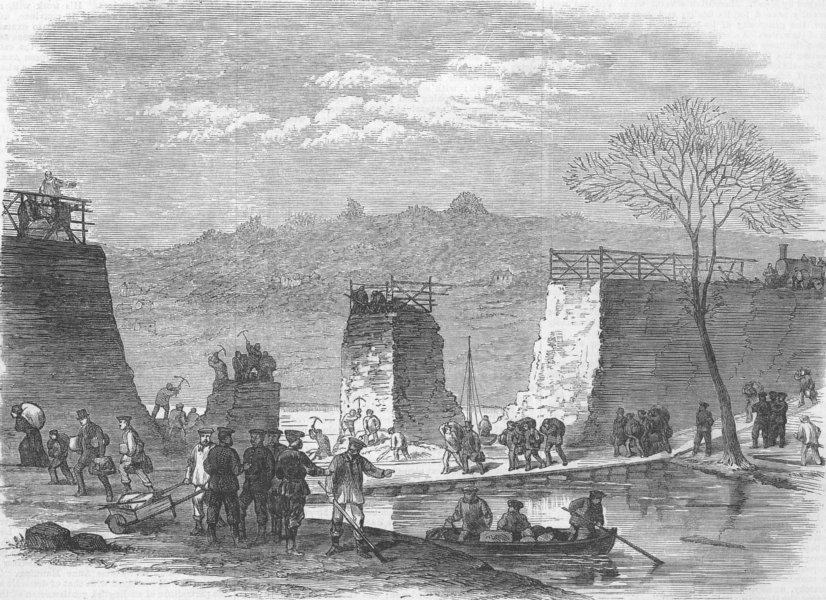 Associate Product PARIS COMMUNE. A Break in the Railway at Pontoise, antique print, 1871