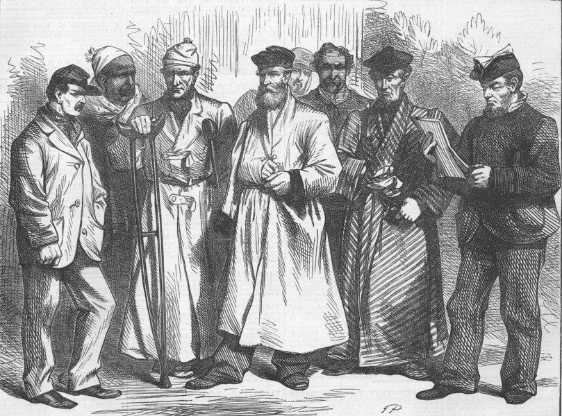 Associate Product FRANCE. Convalescent Soldiers, Bordeaux, antique print, 1871