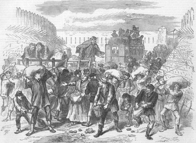 Associate Product FRANCE. Paris Commune. Pillaging Vegetable Carts, antique print, 1871