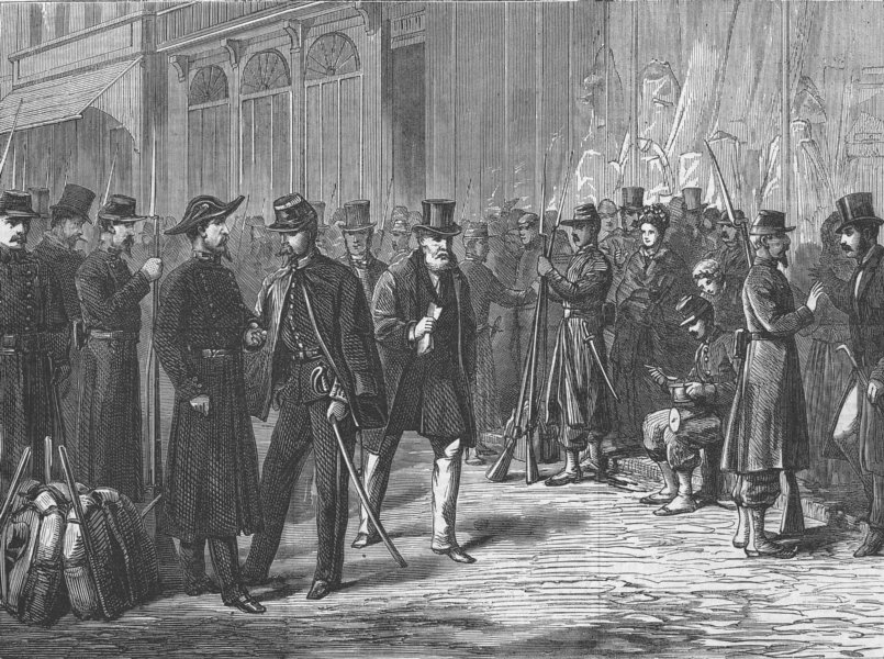 Associate Product FRANCE. Soldiers keeping the streets at Bordeaux, antique print, 1871