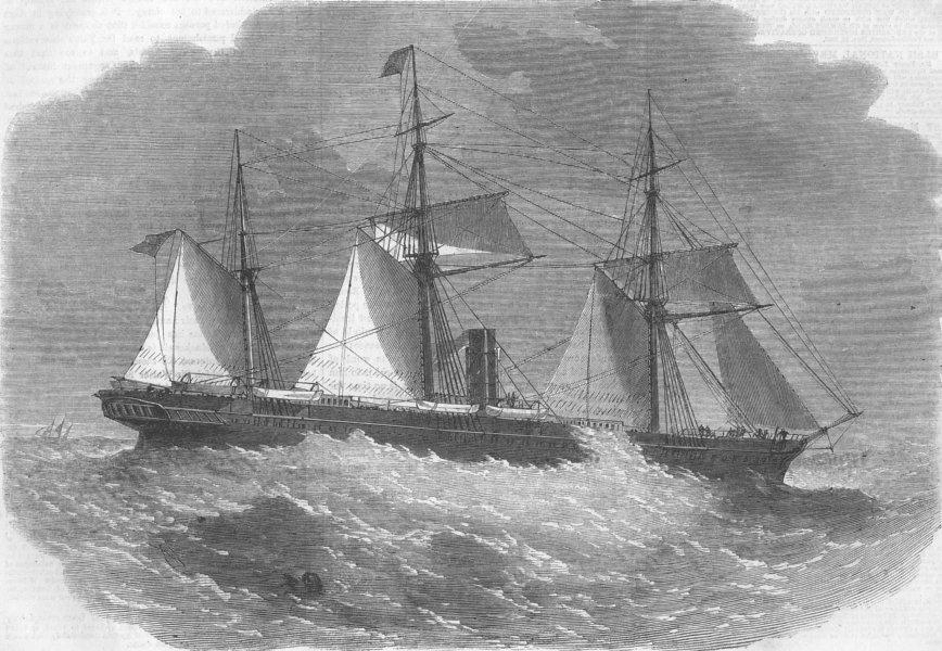 Associate Product INDIA. Peninsular & Oriental Cos Steam-Ship Pune, antique print, 1862