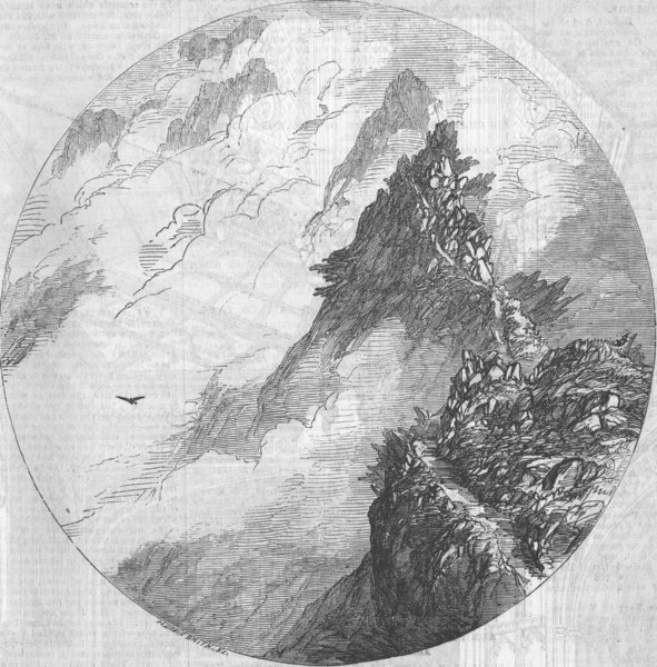 Associate Product CUMBS. Swirrel Edge, Mount Helvellyn, antique print, 1854