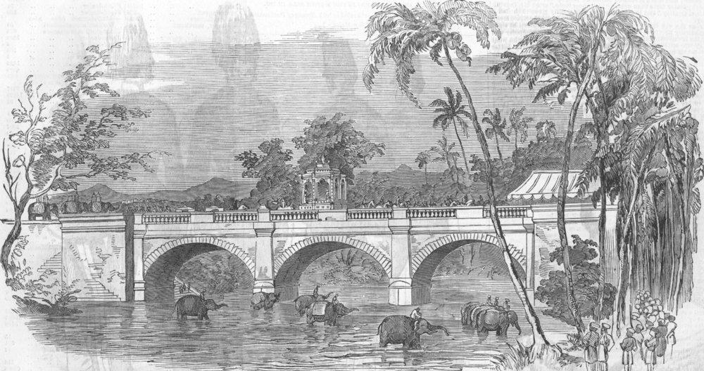 Associate Product INDIA. Bridge at Travancore-Rajahs Procession, antique print, 1854