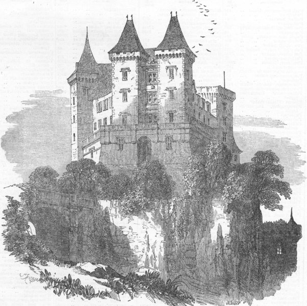 Associate Product FRANCE. The Chateau at Pau, antique print, 1854