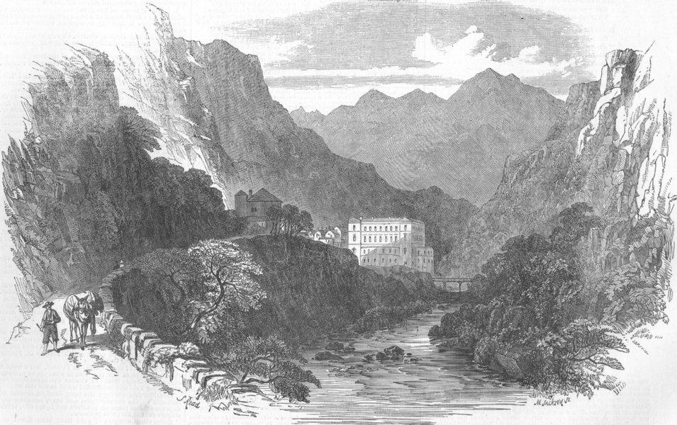 Associate Product FRANCE. Eaux-Chaudes, Pyrenees, antique print, 1854
