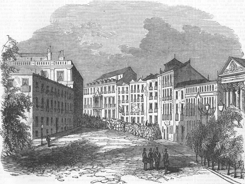 Associate Product SPAIN. Barricade, Place San Geronimo, nr Prado, Madrid, antique print, 1854