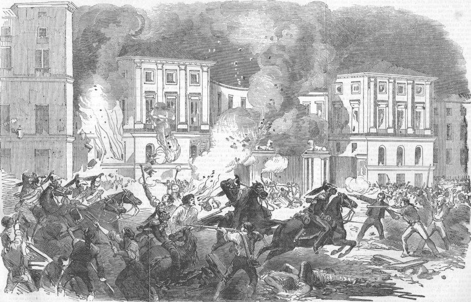 Associate Product SPAIN. rebels burning Christinas Palace, Madrid, antique print, 1854
