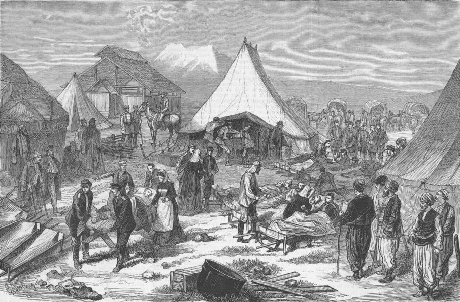 Associate Product TURKEY. Camp for the wounded at Magra, nr Kars, antique print, 1877