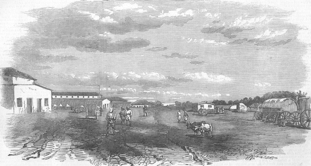 Associate Product INDIA. Meerut. The Barracks, antique print, 1857