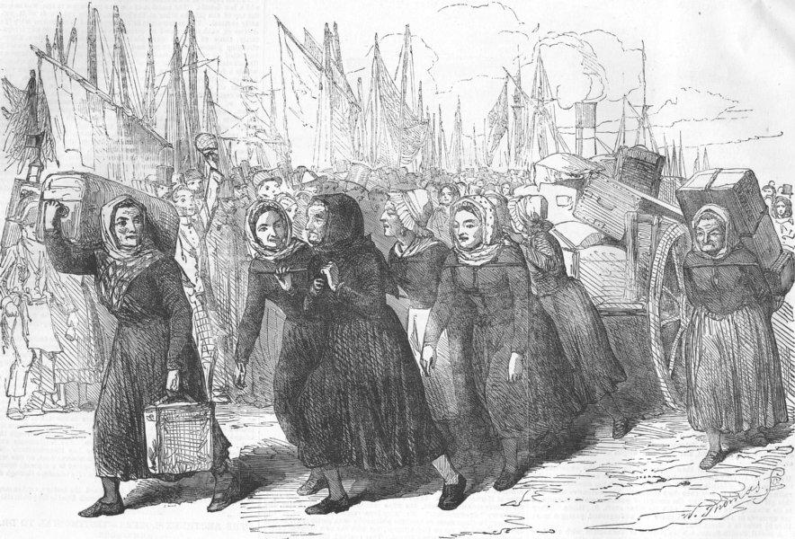 Associate Product FRANCE. Boulogne Fishwomen carrying nurses luggage, antique print, 1854