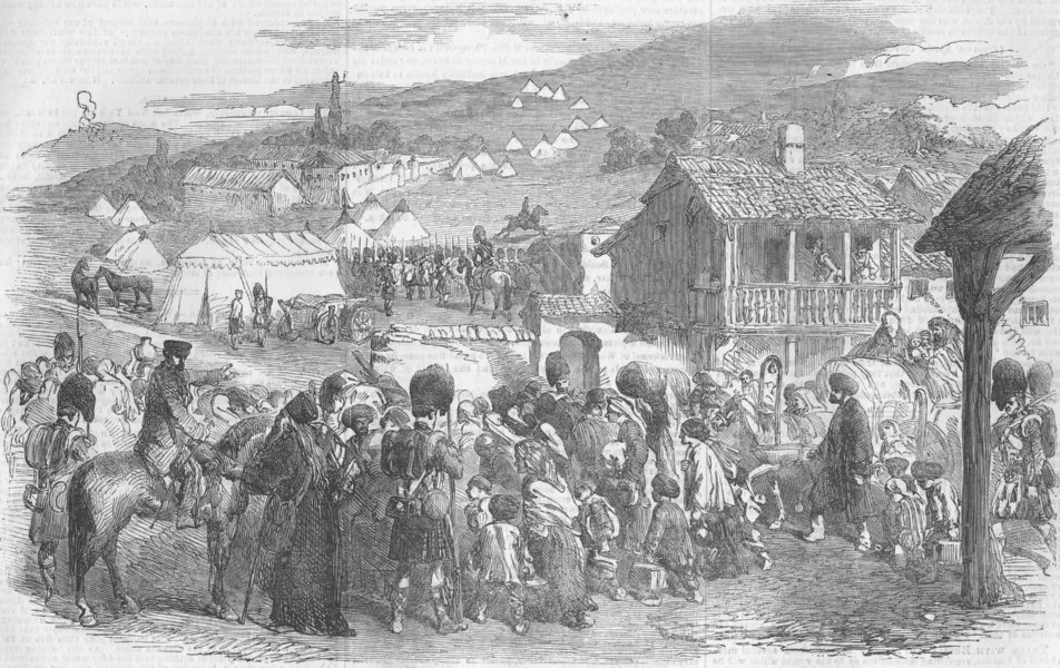 Associate Product UKRAINE. The Inhabitants leaving Balaklava, antique print, 1854