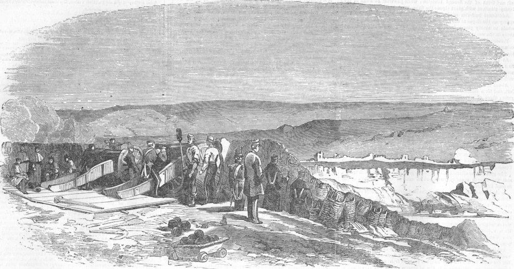 Associate Product UKRAINE. Troops preparing to silence Inkerman, antique print, 1854