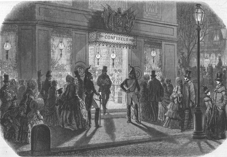 Associate Product FRANCE. The Bonbon Shop in Paris on New Year's Eve, antique print, 1853