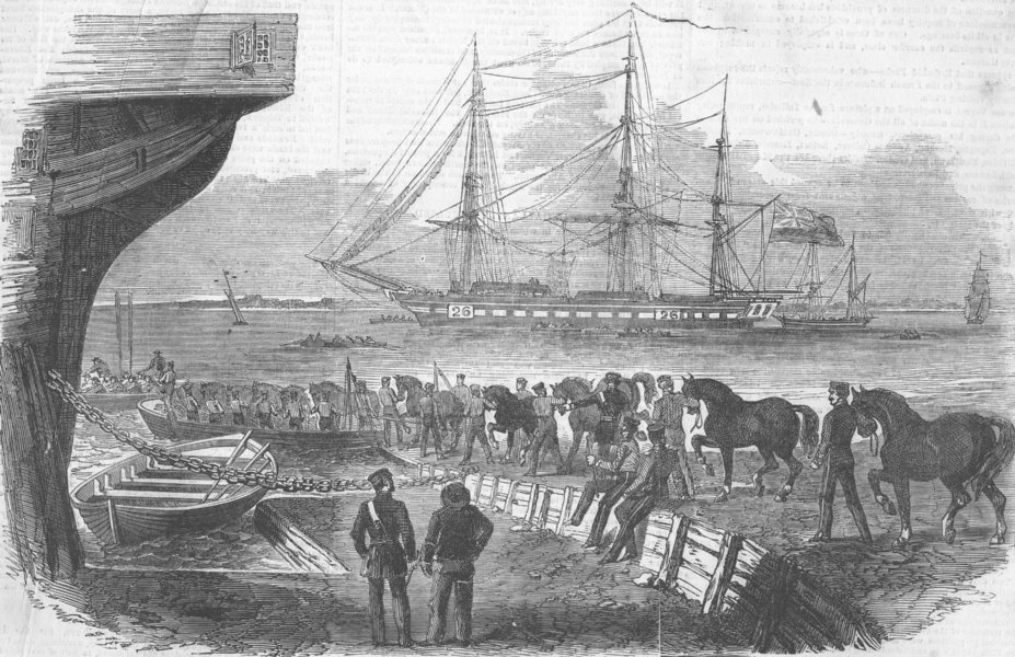 Associate Product LONDON. Shipping horses, Royal Dockyard, Woolwich, antique print, 1855