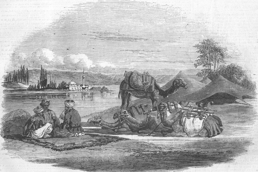 Associate Product EGYPT. Halt by a Stream Near El Arish, antique print, 1857